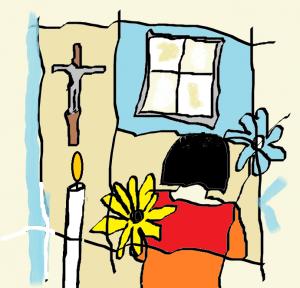 fille qui prie